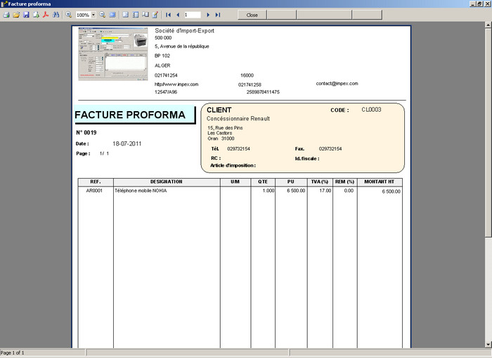 document facture proforma